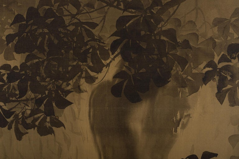 Meiji Japanese Two-Panel Screen, Gibbons in the Wild For Sale
