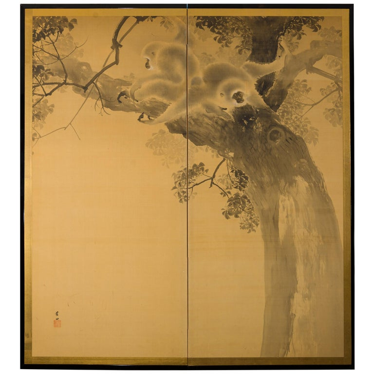 Japanese Two-Panel Screen Gibbons in the Wild For Sale