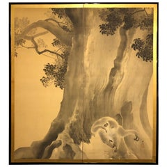 Japanese Two Panel Screen, Gibbons in the Wild