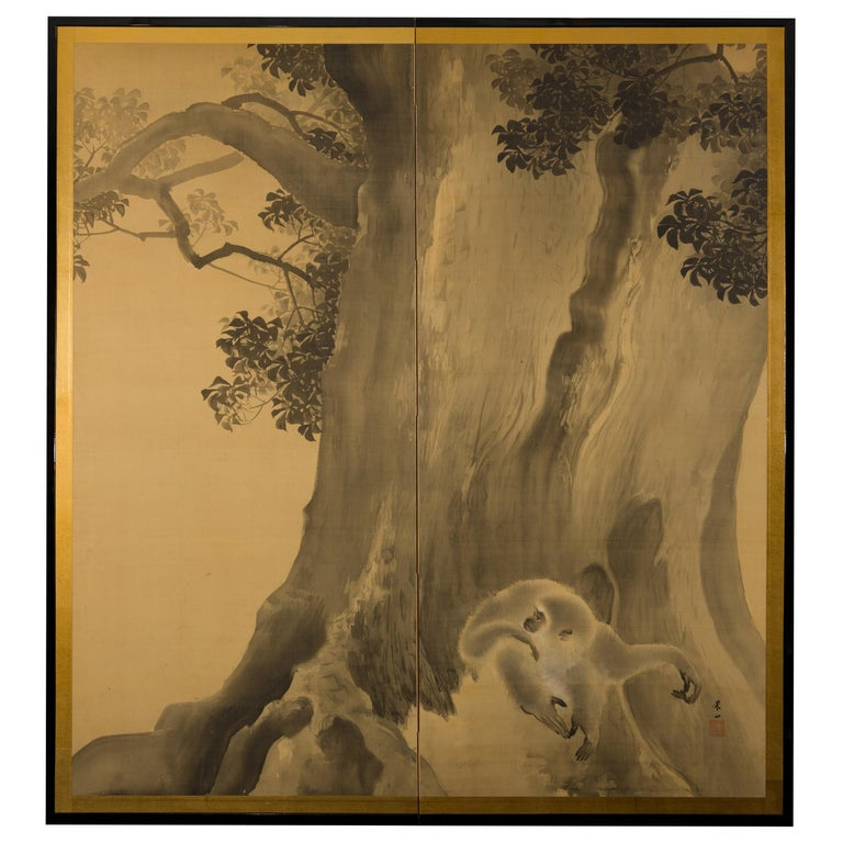 Japanese Two-Panel Screen, Gibbons in the Wild For Sale