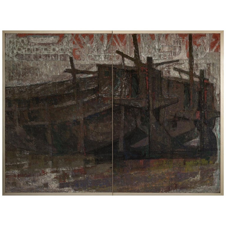 Japanese Two Panel Screen Harbor Scene in Abstract Form For Sale