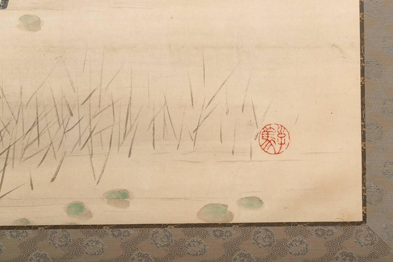 Japanese Two Panel Screen, Heron In Water Lily Pond Under Willow For Sale 1