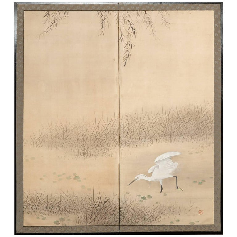 Japanese Two Panel Screen, Heron In Water Lily Pond Under Willow For Sale