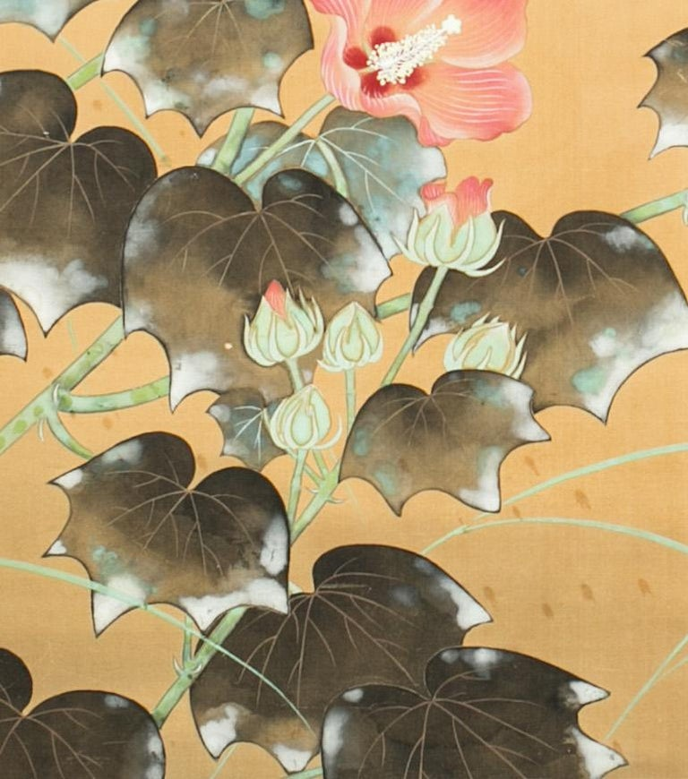 Meiji Japanese Two-Panel Screen, Hibiscus In Bloom For Sale