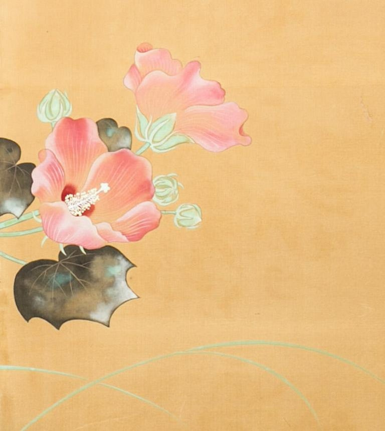 Japanese Two-Panel Screen, Hibiscus In Bloom In Good Condition For Sale In Hudson, NY