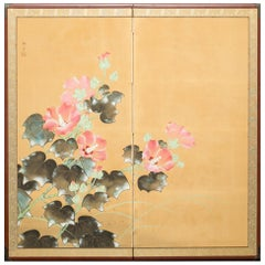 Japanese Two-Panel Screen, Hibiscus Flowers