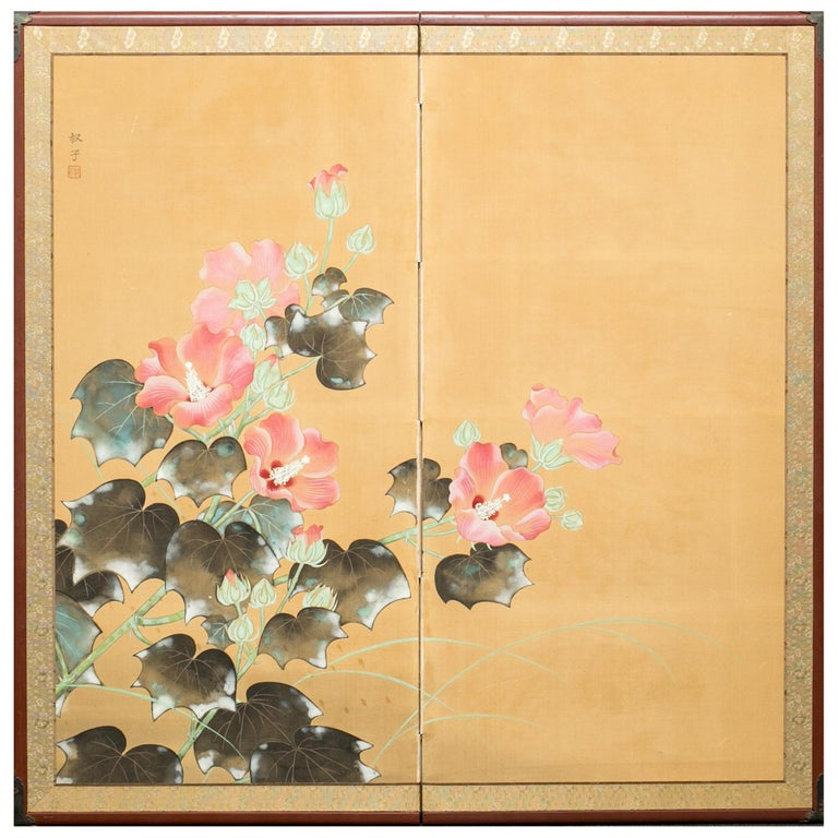 Japanese Two Panel Screen Hibiscus Flowers For Sale At 1stdibs