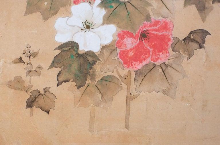 Edo period (18th century) furosaki screen (tea screen), with seal of the artist: Jakyu. Korin School painting, employing Kenzan style of split image. (see