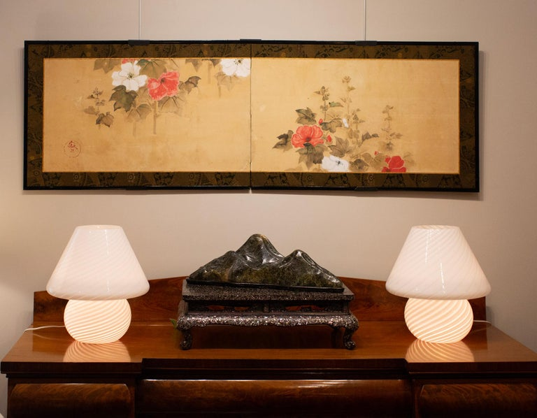 Wood Japanese Two Panel Screen, Hollyhocks For Sale
