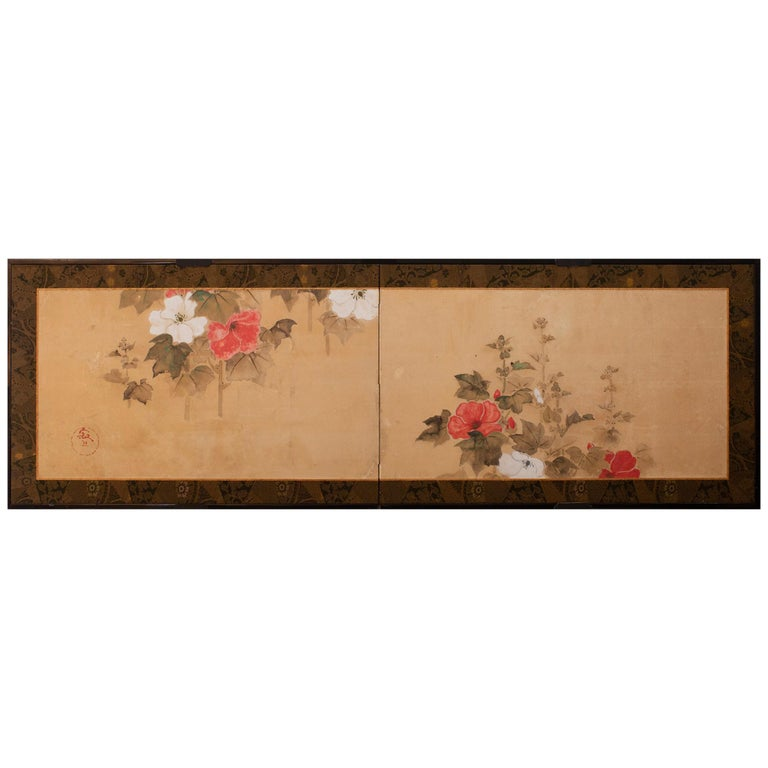 Japanese Two Panel Screen, Hollyhocks For Sale