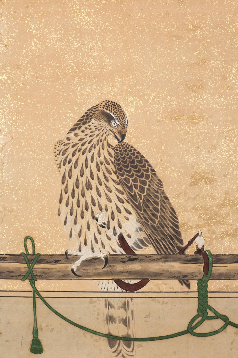 Edo Japanese Two-Panel Screen, Hunting Falcons For Sale