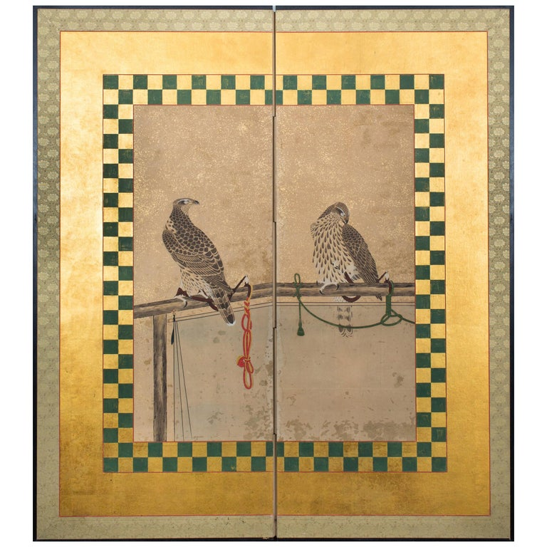 Japanese Two-Panel Screen, Hunting Falcons For Sale