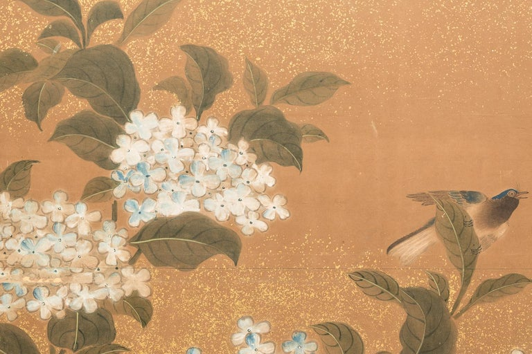 Meiji Japanese Two-Panel Screen Hydrangea and Camelia Flowers with Sparrows in Flight