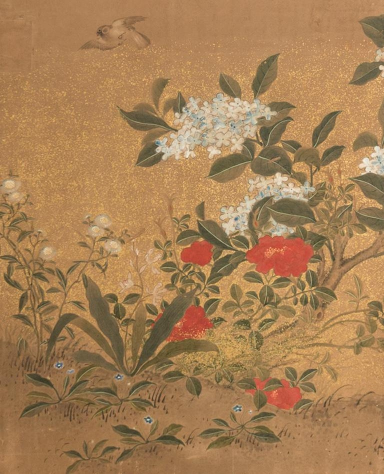 Japanese Two-Panel Screen Hydrangea and Camelia Flowers with Sparrows in Flight In Good Condition In Hudson, NY