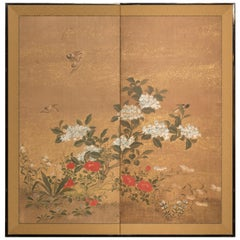 Japanese Two-Panel Screen Hydrangea and Camelia Flowers with Sparrows in Flight