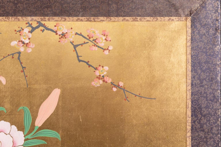 Japanese Two-Panel Screen Ikebana on Gold For Sale 4