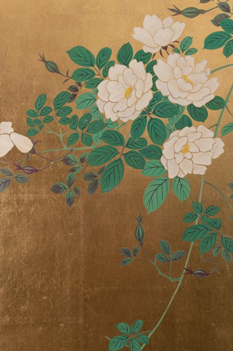 19th Century Japanese Two-Panel Screen Ikebana on Gold For Sale