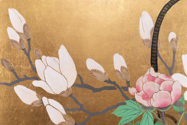 Silk Japanese Two-Panel Screen Ikebana on Gold For Sale