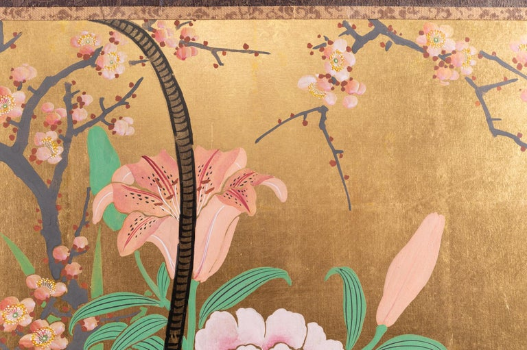 Japanese Two-Panel Screen Ikebana on Gold For Sale 2