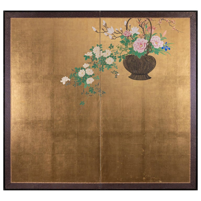Japanese Two-Panel Screen Ikebana on Gold For Sale