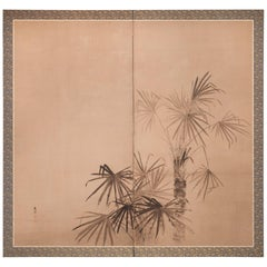 Japanese Two-Panel Screen Ink Painting of Palm Trees on Paper