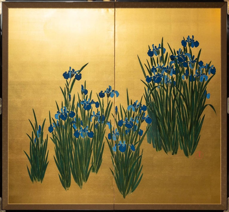 Japanese Two Panel Screen: Irises on Gold Showa period (1926 - 1989) painting, beautifully mounted with silvered hardware.  Seal reads: Eishun.  Mineral pigments on gold with a silk brocade border.