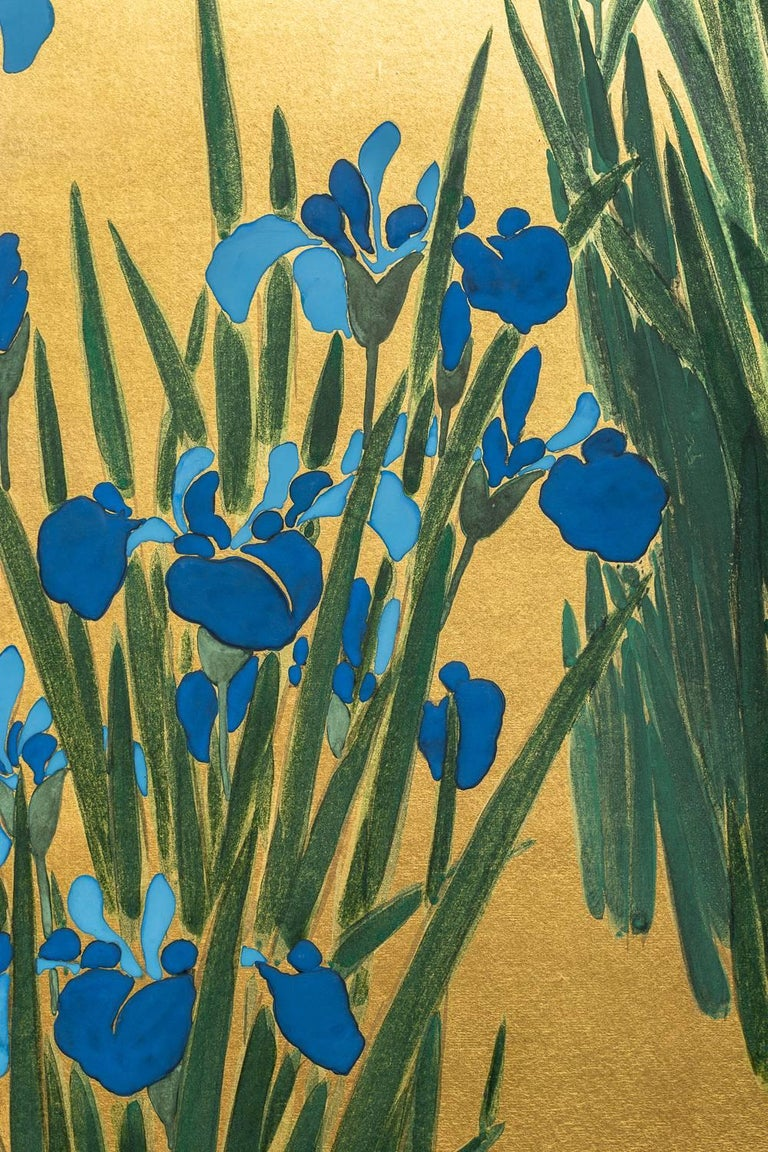 Showa Japanese Two Panel Screen: Irises on Gold For Sale