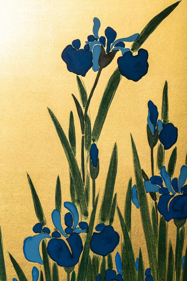 Japanese Two Panel Screen: Irises on Gold In Good Condition For Sale In Hudson, NY