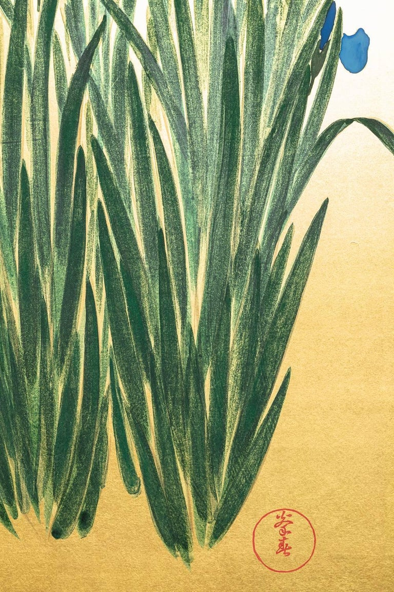 20th Century Japanese Two Panel Screen: Irises on Gold For Sale