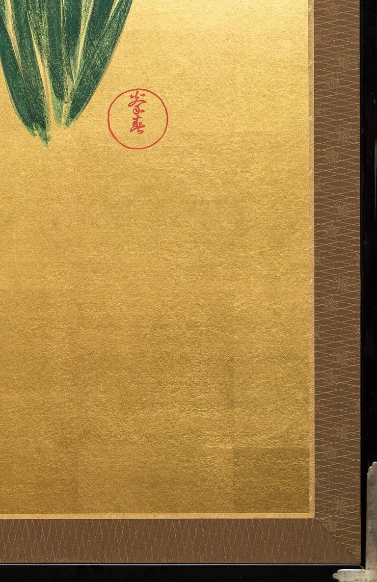 Wood Japanese Two Panel Screen: Irises on Gold For Sale
