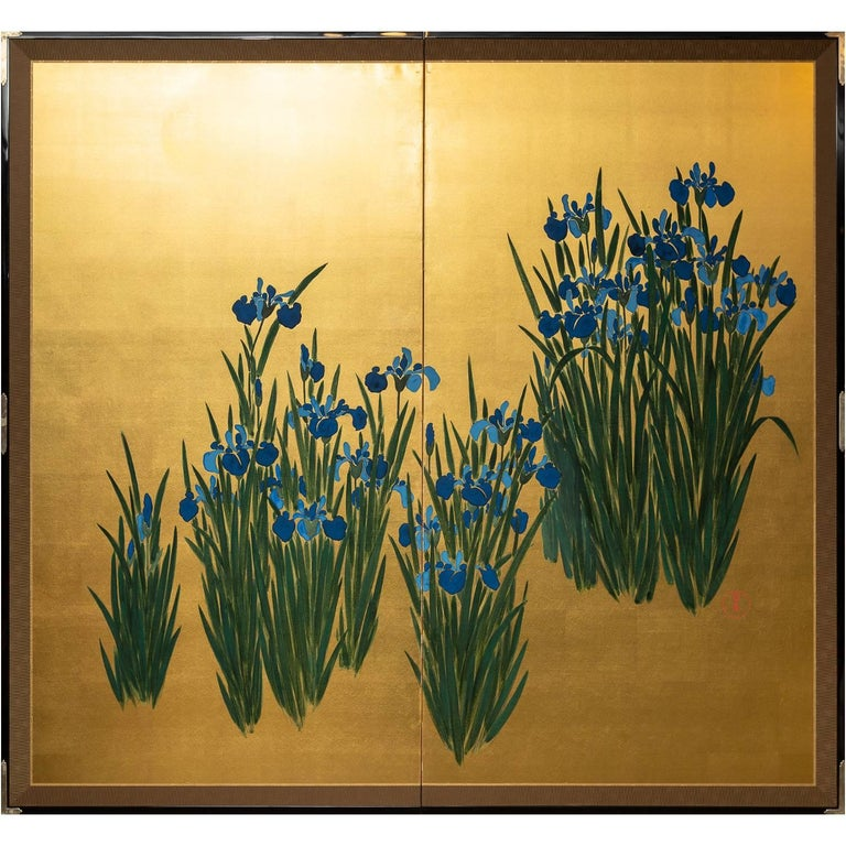 Japanese Two Panel Screen: Irises on Gold For Sale