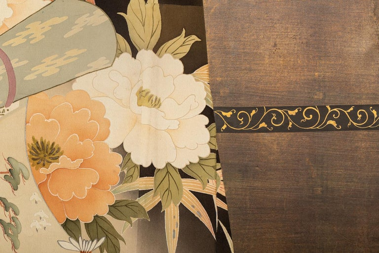 Hand-Painted Japanese Two Panel Screen: Kimono on Rack For Sale