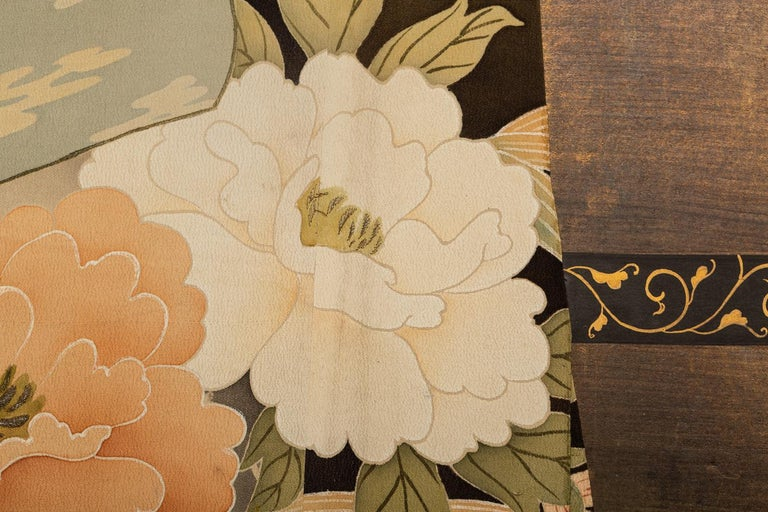 Japanese Two Panel Screen: Kimono on Rack In Good Condition For Sale In Hudson, NY