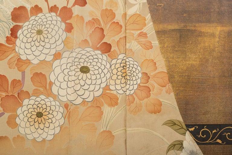 Japanese Two Panel Screen: Kimono on Rack For Sale 3