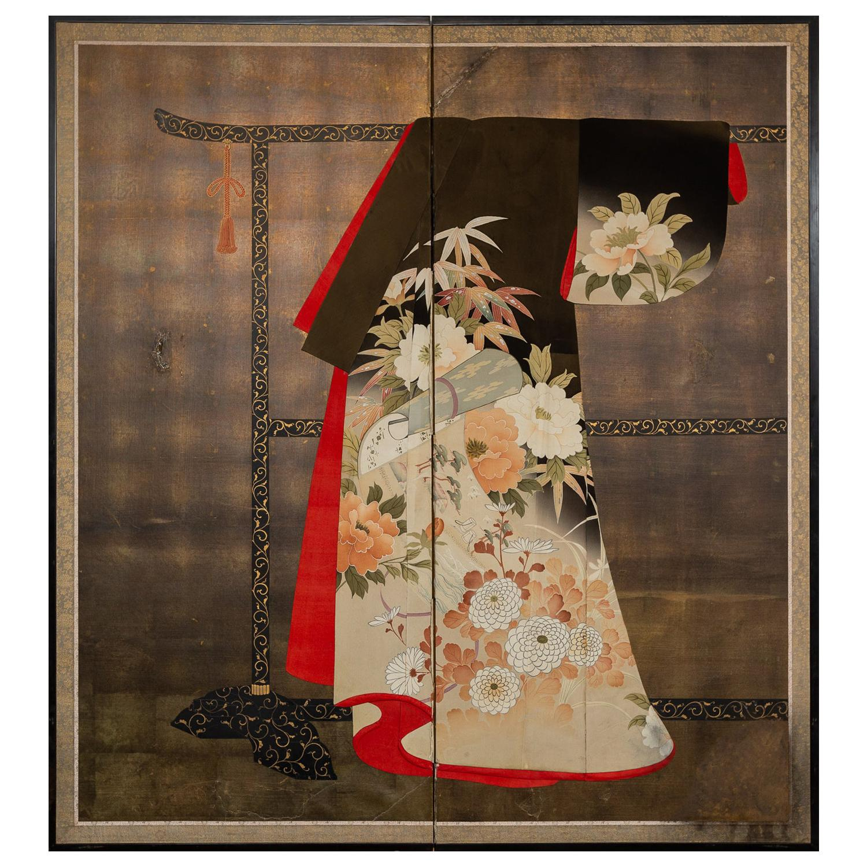 Japanese Two Panel Screen: Kimono on Rack