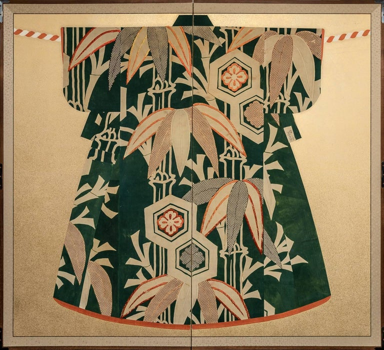 Japanese Two Panel Screen: Late Nineteenth Century Kimono Fabric Mounted on Early Twentieth Century Screen.  In the Heian period (eighth century to the twelfth century), noblemen would hang their kimonos on ropes as a temporary privacy screen (and