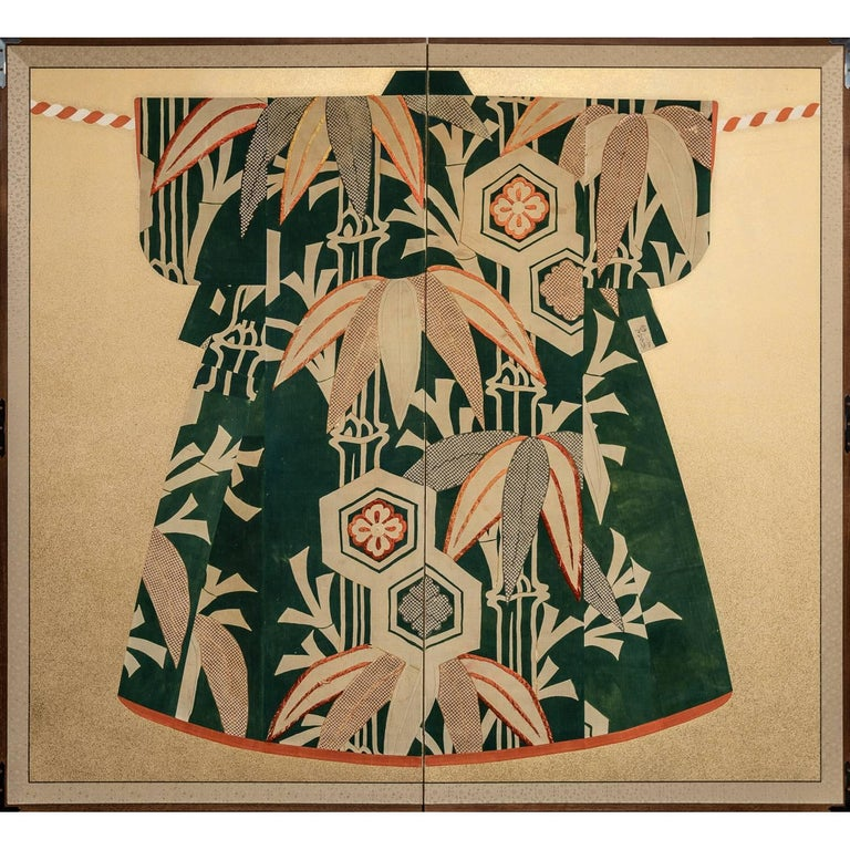 Japanese Two Panel Screen: Antique Kimono Fabric Mounted on Screen For Sale