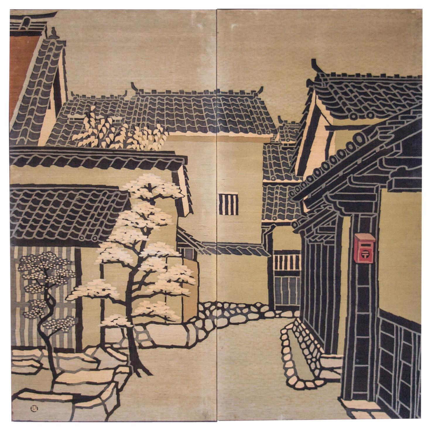 Japanese Two-Panel Screen Kyoto Town Street Scene