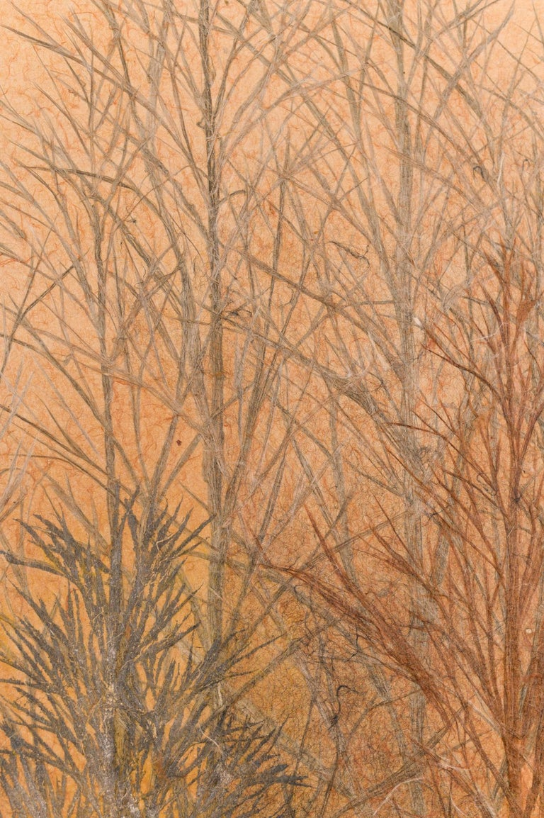 Japanese Two Panel Screen Late Autumn Forest, Rare Obara Paper Art Screen For Sale 6