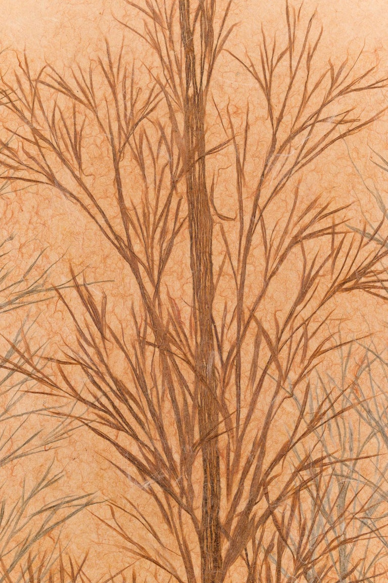 Japanese Two Panel Screen Late Autumn Forest, Rare Obara Paper Art Screen For Sale 7