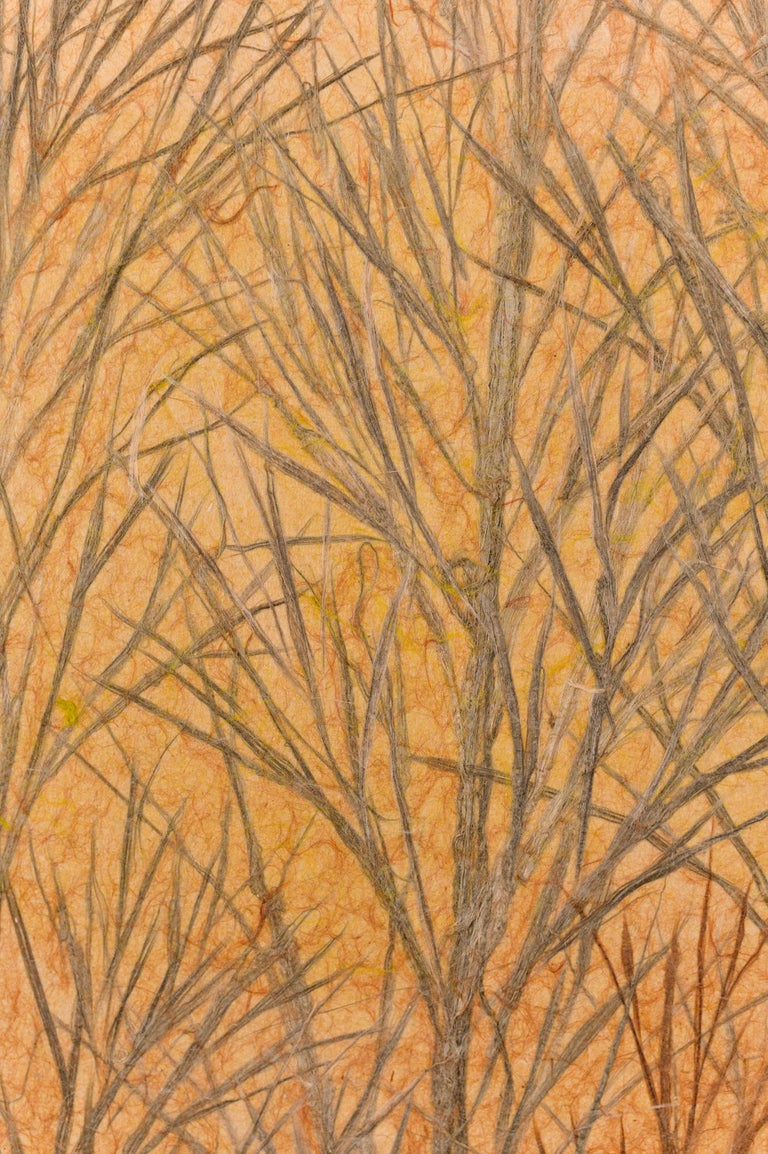 Japanese Two Panel Screen Late Autumn Forest, Rare Obara Paper Art Screen For Sale 9
