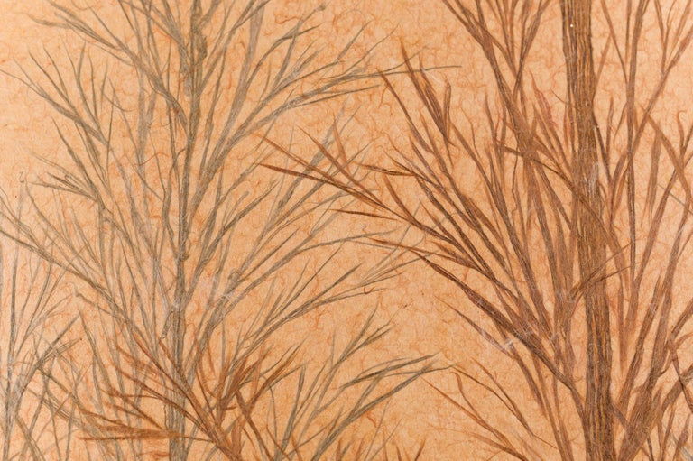 Japanese Two Panel Screen Late Autumn Forest, Rare Obara Paper Art Screen For Sale 12