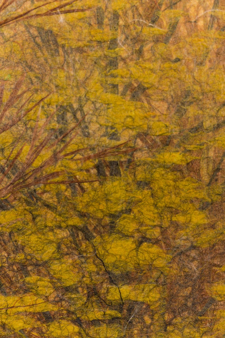 Japanese Two Panel Screen Late Autumn Forest, Rare Obara Paper Art Screen In Good Condition For Sale In Hudson, NY