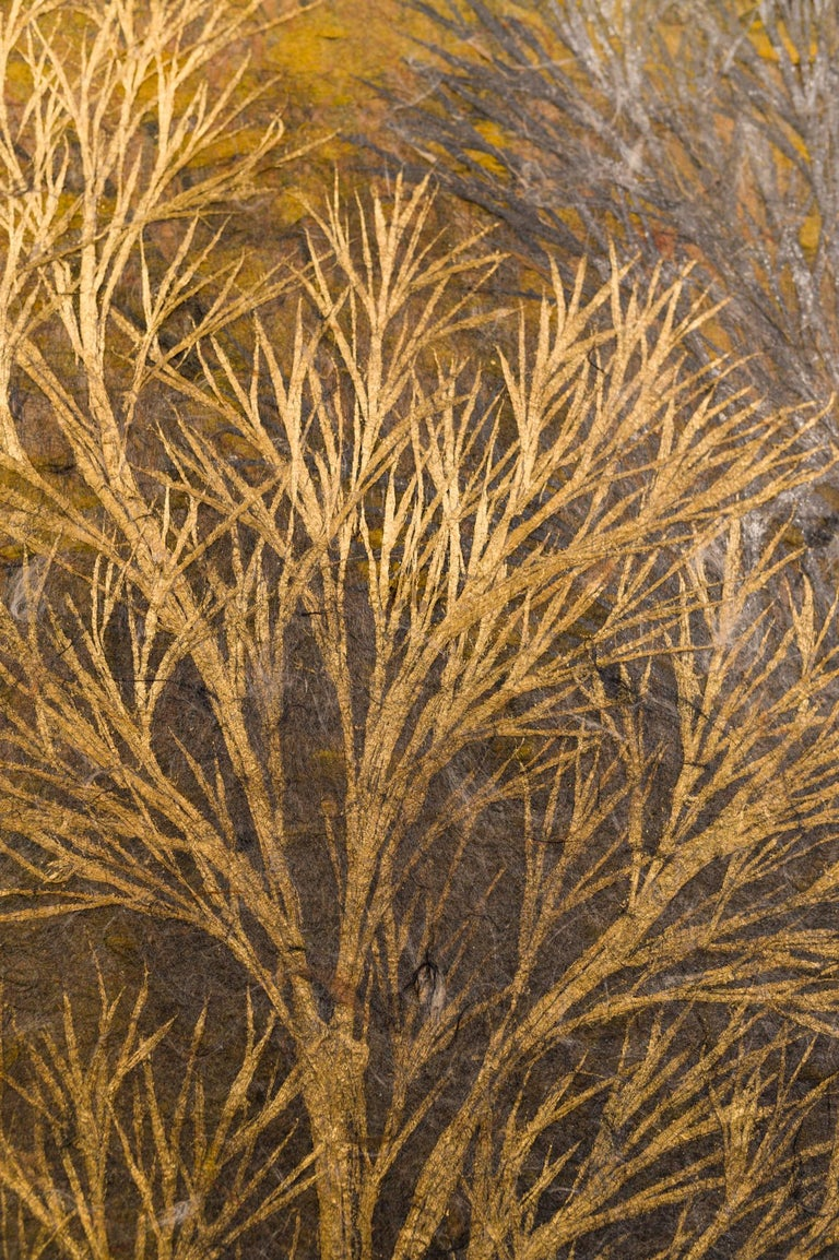 Gold Leaf Japanese Two Panel Screen Late Autumn Forest, Rare Obara Paper Art Screen For Sale