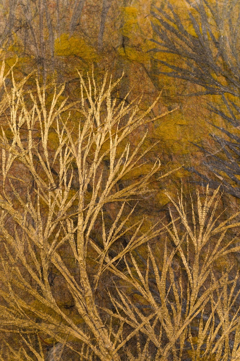 Japanese Two Panel Screen Late Autumn Forest, Rare Obara Paper Art Screen For Sale 1