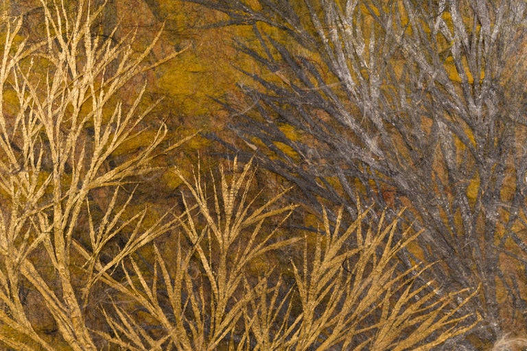 Japanese Two Panel Screen Late Autumn Forest, Rare Obara Paper Art Screen For Sale 2