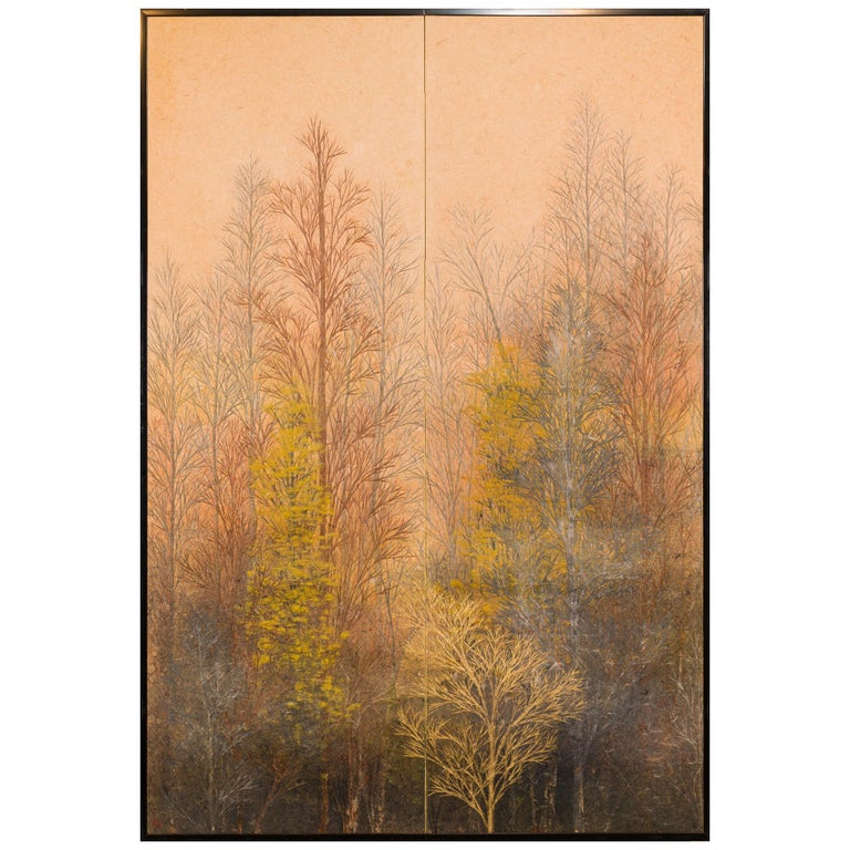 Japanese Two Panel Screen Late Autumn Forest, Rare Obara Paper Art Screen For Sale