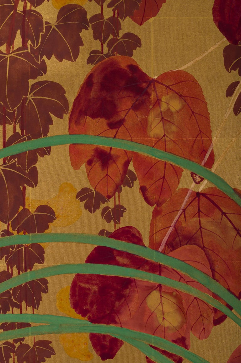 Japanese Two Panel Screen Late Summer Into Fall For Sale 9