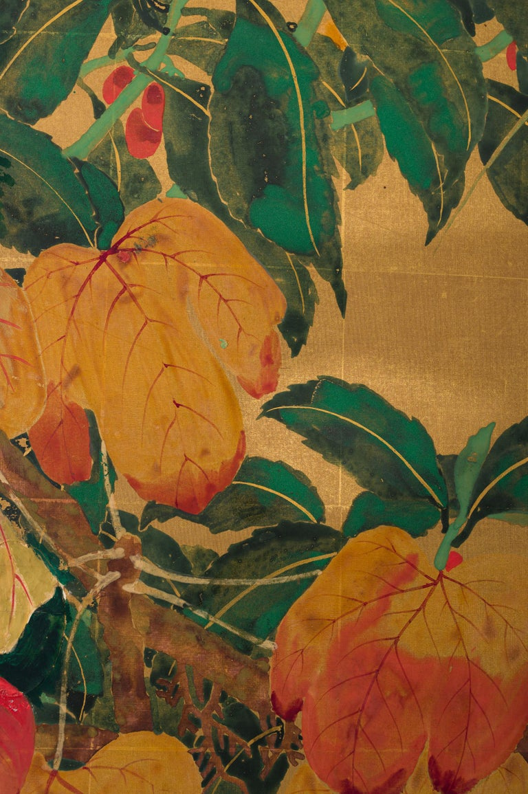 20th Century Japanese Two Panel Screen Late Summer Into Fall For Sale