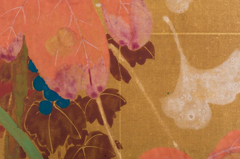 Japanese Two Panel Screen Late Summer Into Fall For Sale 7
